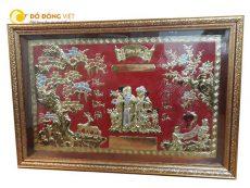 Tranh mừng thọ ông bà đẹp kích thước 80cmx145cm khung gỗ nền đỏ